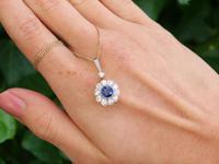 0.80ct Sapphire & 0.82ct Diamond, 14ct Yellow Gold Pendant - Antique (2 of 9)