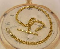 Vintage Pocket Watch Chain 1950s 14ct Rolled Gold Double Albert With Sliding T Bar (4 of 11)