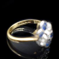 Antique Blue Sapphire and Old Cut Diamond Cluster 18ct 18K Yellow Gold and Platinum Ring (2 of 10)