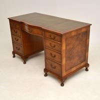 Burr Walnut Pedestal Desk c.1930 (3 of 10)