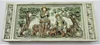 German or Austrian stove or fireplace faience tile with huntsmen & dogs c.1870 (2 of 13)