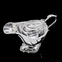 Antique Georgian Solid Sterling Silver Sauce Boat Nautilus Design Armorial Interest - William Shaw 1766 (9 of 19)