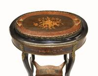 French Side Table Stand Marquetry Inlay c.1880 (9 of 13)