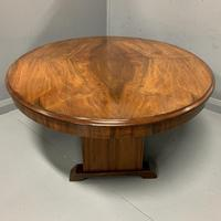 Large oval walnut coffee table with trestle base (6 of 6)