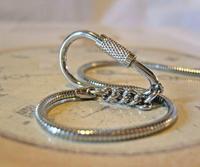 Vintage Pocket Watch Chain 1970s Long Silver Chrome Snake Link Albert & Belt Clip (4 of 10)