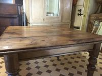 Antique Square Pine Rustic Kitchen Dining Table (6 of 7)