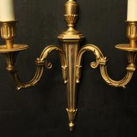 French Pair of Gilded Twin Arm Wall Lights (6 of 10)