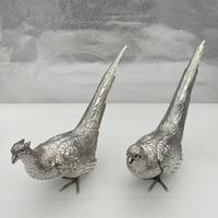 Antique Large Pair of European Sterling Silver Pheasants c.1900 (3 of 10)