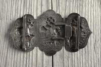 Antique Burmese Silver Belt Buckle, High Relief Repousse, Figures and a Cow c.1880 (5 of 8)