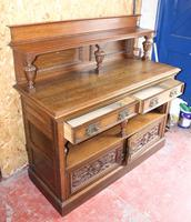 1920s Arts & Craft Style Carved Oak Sideboard with Back (3 of 9)