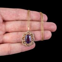 Antique Edwardian Suffragette Pendant Necklace Amethyst Peridot Pearl 9ct Gold c.1910 (7 of 8)