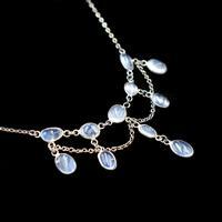 Antique Moonstone Sterling Silver Drop Fringe Festoon Necklace (3 of 8)