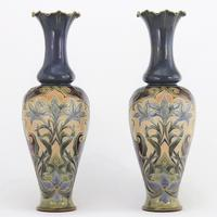 Pair of Tall Doulton Lambeth Art Nouveau Baluster Vases by Eliza Simmance c.1895
