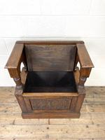 Early 20th Century Antique Carved Oak Hall Seat (7 of 13)