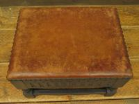 Small Vintage Wooden Black Painted Foot Stool with Brown Leather Top (2 of 17)