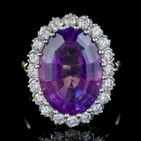 Vintage Amethyst Diamond Cocktail Ring 18ct Gold 12ct Amethyst Circa 1980 (3 of 8)