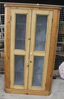 1900's Country Antique Pine Corner Cupboard with Mesh on Doors
