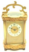 Fine Antique French 8-day Serpentine Fleur De Lis Decorated Panel 8-day Carriage Clock Timepiece c.1890 (8 of 10)