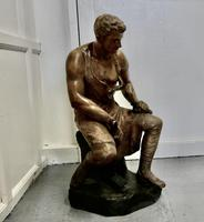 Large 1920s Plaster Figure of the Seated Blacksmith, Le Travail (5 of 12)