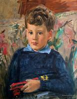 'Boy with Toy' Thomas Sherwood La Fontaine Superb Oil Portrait Painting (2 of 13)