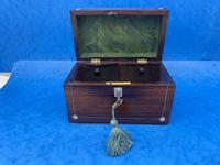 William IV Rosewood Twin Section Tea Caddy with Mother of Pearl Inlay (8 of 14)