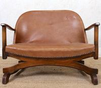 Carved Oak Leather Bucket Sofa & Chair (5 of 24)