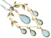 2.27ct Aquamarine, Diamond, Pearl & 14ct Yellow Gold Pendant - Antique c.1900 (5 of 9)