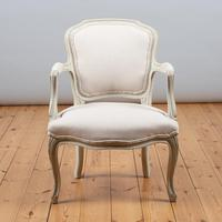 Pair of Large French Louis XV Style Painted Upholstered Armchairs (3 of 9)