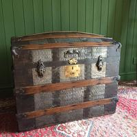 Antique Victorian Dome Top Steamer Trunk Old Gothic Travel Chest Metal Storage Box Steampunk Style (2 of 10)