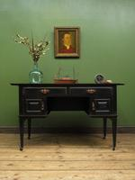Antique Black Painted Writing Desk with Drawers, Gothic Shabby Chic