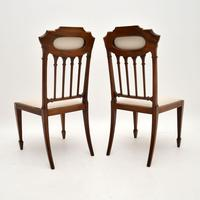Pair of Antique Edwardian Inlaid Mahogany Side Chairs (4 of 10)