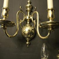 English Set of 3 Twin Arm Antique Wall Lights (7 of 10)
