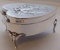 Rare Large 1904 Hallmarked Solid Silver Love Heart Pill Earring Jewellery Box (13 of 13)