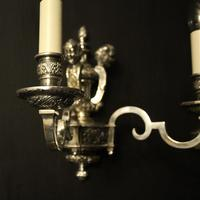 English Set of 4 Cherub Silver Wall Lights (8 of 9)