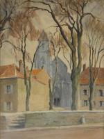 D Richier - Watercolour - French Village Scene (2 of 3)