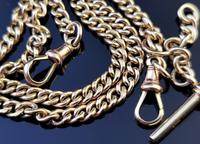Antique 9ct Yellow Gold Double Albert Chain, Watch Chain, Curb Link (3 of 13)