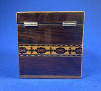 Victorian Rosewood Single Tea Caddy with Micro Mosaic Tunbridge Ware Inlay (10 of 11)
