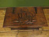 Antique Oak Chest with Carved Ship Detail to Lid Maritime Nautical Storage Chest (3 of 14)