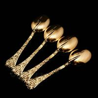 Antique Set of 4 Solid Silver Gilt Spoons with Highly Embossed Design - Henry William Curry 1871 (9 of 14)