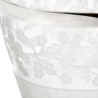 Decorative Victorian Silver Plated & Glass Ice Pail Etched with Oak Leaves (3 of 3)