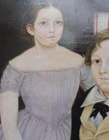 Large Oil on Canvas Portrait of Brother & Sister 1860 (10 of 13)