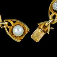 Antique Art Nouveau French Diamond Pearl Bracelet 18ct Gold 3ct Diamond c.1900 (4 of 7)