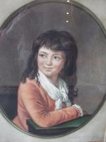 John Cother Webb Mezzotint of a young boy in red