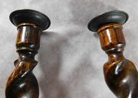 Pair of English Oak Barley Twist Candlesticks (5 of 6)