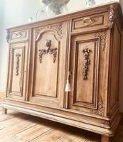 French Antique Oak Sideboard / Cupboard / Cabinet with Arabescato Marble (5 of 10)
