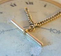 Antique Pocket Watch Chain 1890 Victorian 12ct Rose Rolled Gold Albert & T Bar (6 of 10)