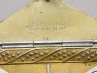 Victorian Patented American Sterling Silver & Enamel Envelope Form Double Stamp Case (5 of 8)