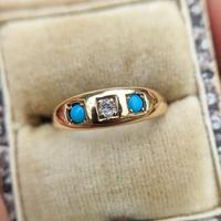 Antique 18ct Yellow Gold Turquoise & Diamond Trilogy Gypsy Ring