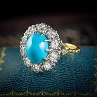 Antique Edwardian Turquoise Diamond Cluster Ring Platinum 18ct Gold 2ct of Diamond c.1905 (2 of 8)