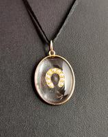 Antique Victorian Rock Crystal Pendant Gold Horseshoe, Split Pearl (6 of 14)